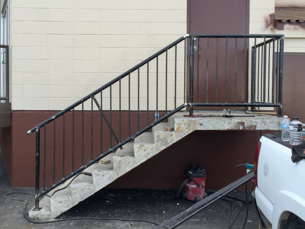 During the railing replacement.